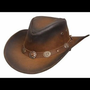 Other - Men's Genuine Brown Leather Cowboy Top Hat
